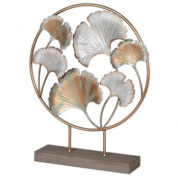 Ginkgo Leaf Deco on Stand SPW014. A fantastic decorative piece for your hallway or conservatory. The palm leaves are finished in distressed golds and silvers and look magnificent with the base beneath.