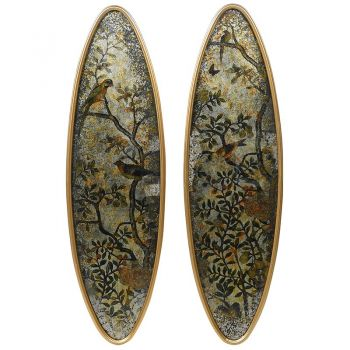 Set of 2 Lyme Oval Glass Wall Art STN1337. These gorgeous glass wall art pieces are perfect for your hallway. Fantastic, glamorous, and elegant.