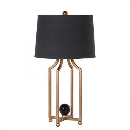 Metal Leg Table Lamp with Black Shade