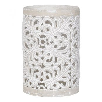 Large Lace Ceramic Hurricane UNP043. This marvellous ceramic hurricane lantern has a great lace effect. Perfect to let your candles glisten through!