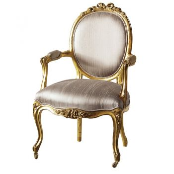 Versailles Gold Silk Nursing Armchair INT2085. This gorgeous chair is finished with a gold raw silk design. Intricately designed with controlled distressing to create an authentic look that replicates the wonderful, sought after antiques we desire.