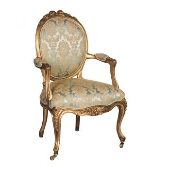 Versailles Green and Gold Nursing Armchair INT2190. This gorgeous chair is finished with a gold leaf design on a stunning green background. Intricately designed with controlled distressing to create an authentic look that replicates the wonderful, sought after antiques we desire.