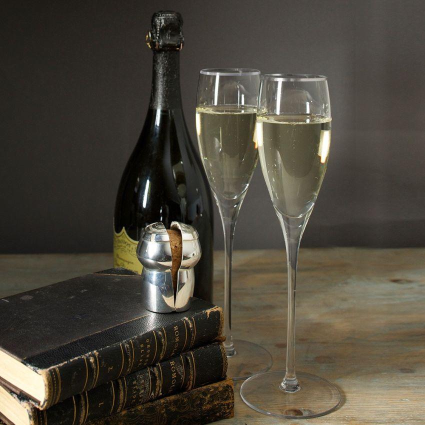 Crystal Champagne Flutes & Champagne Cork Holder Gift Set - Silver
