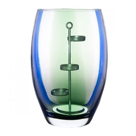 Culinary Concepts Glass Hurricane Vase with Metal