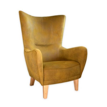 Mustard Green Romeo Chair with Natural Beechwood Feet