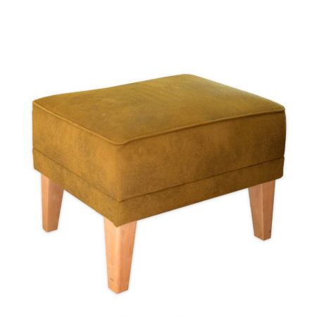 Mustard Green Romeo Footstool with Natural Beechwood Feet