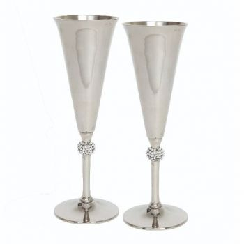 Culinary Concepts Pair of Champagne Goblets with Crystal Sphere 12418-2. These stunning goblets emit undeniable glamour and style.