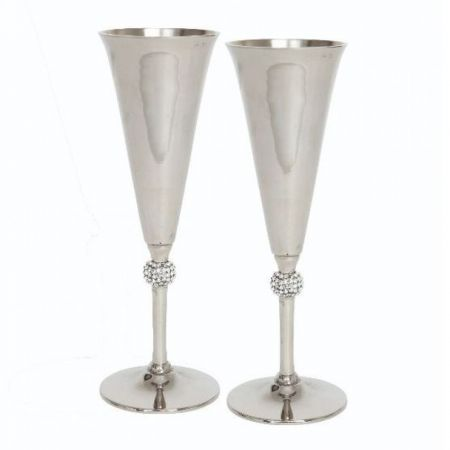Culinary Concepts Pair of Champagne Goblets with Crystal Sphere