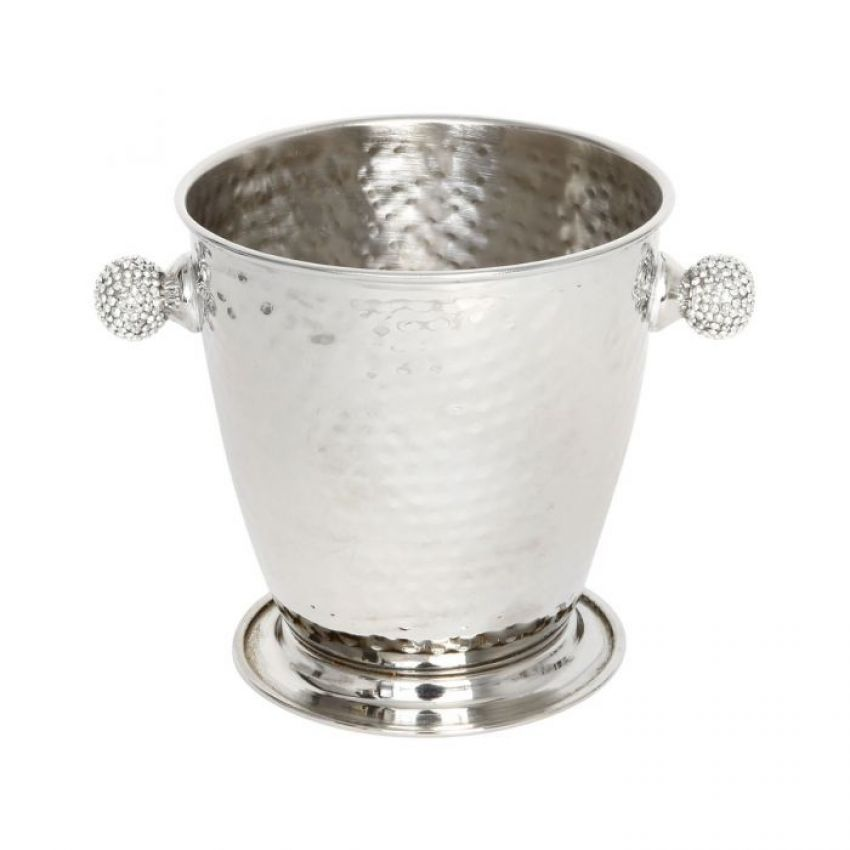 Culinary Concepts Hammered Ice Bucket with Crystal Sphere Handles