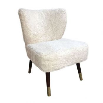 Culinary Concepts Westbury Off White Shaggy Chair WBR-OW. Perfect for boho-chic interiors, add on-trend woolly texture into your home with our unique shaggy Westbury Chair in a neutral off white.