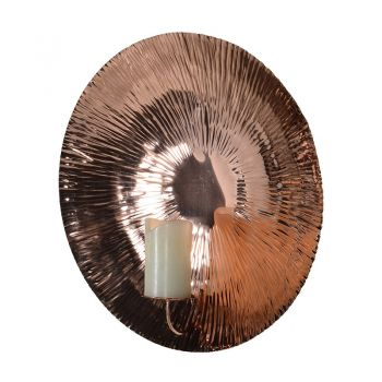Small Copper Wall Sconce. Shiny Copper Wall Sconce FTY065. Our delightful copper wall sconce looks magnificent on a large wall. It shimmers beautifully with a candle alight!