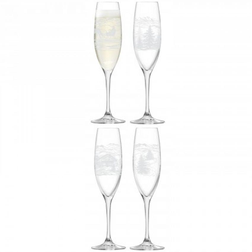 Assorted Tirol Champagne Flutes x4