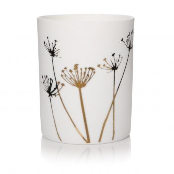 Small Dandelion Votive 50931. A fantastic, delicate piece to sit on display in your home. The beautifully detailed dandelions look elegant upon this votive.
