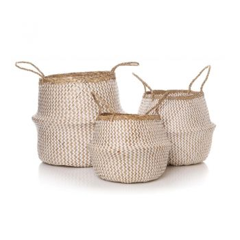 Set of 3 Natural White Bay Basket 51158. A gorgeous set of three baskets. Finely made with intricate detail and beautiful white colouring, these will sit beautifully in your conservatory or hallway.