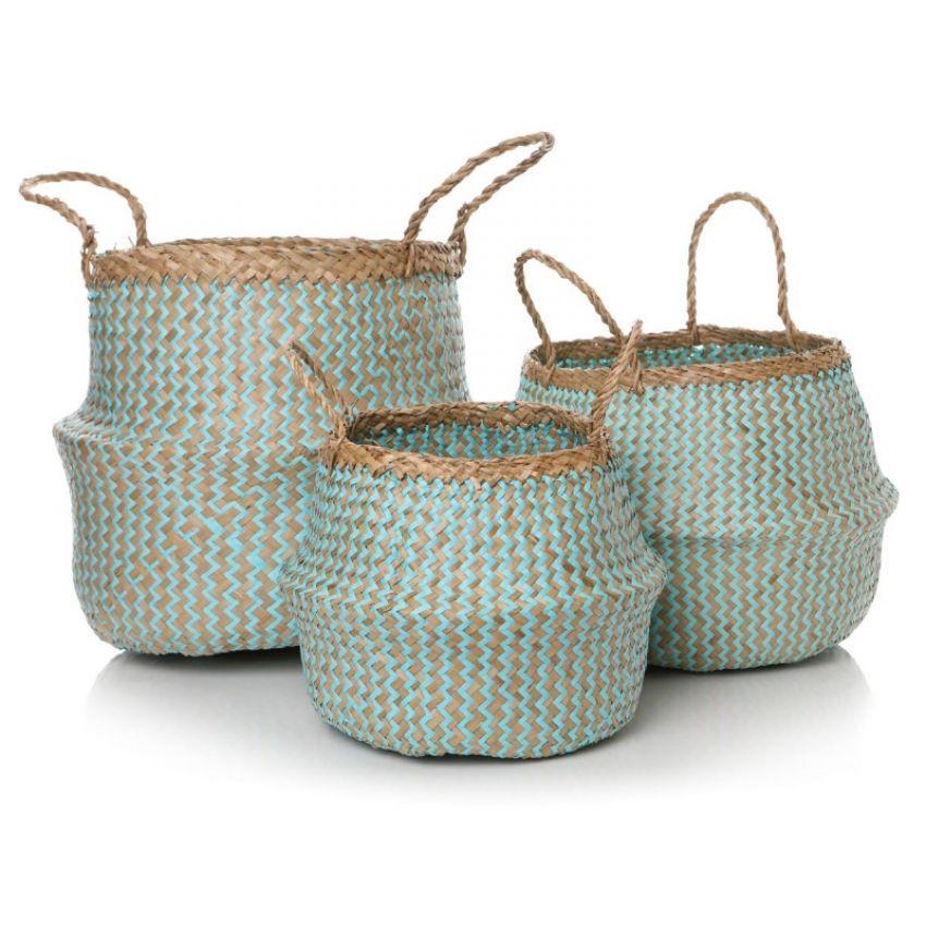 Set of 3 Natural Blue Bay Basket