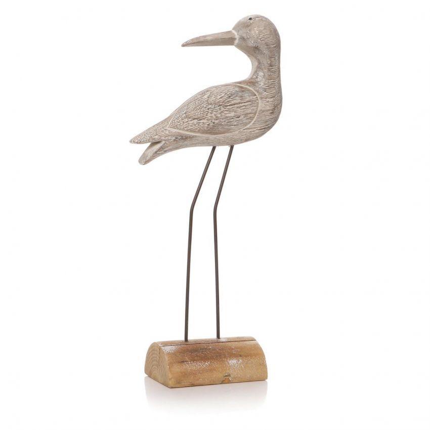 Medium White Wash Sculptured Wading Bird