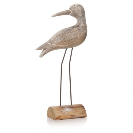 Large White Wash Sculptured Wading Bird