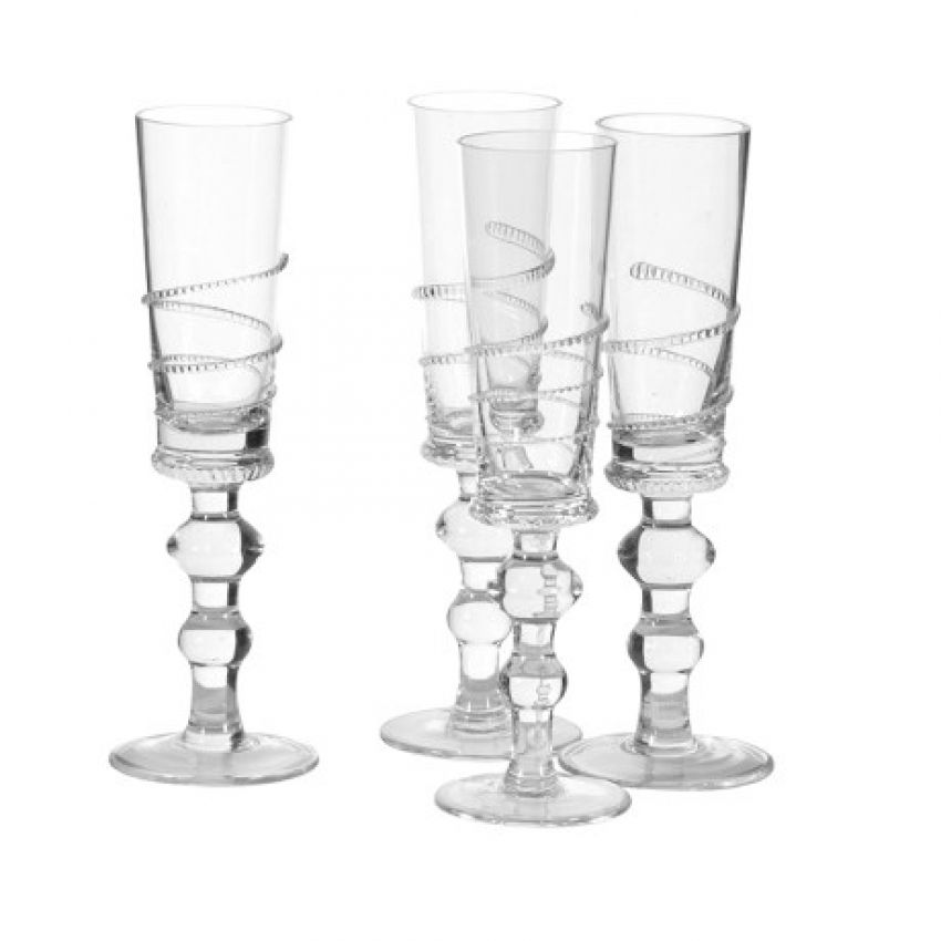 Set Of 4 'Zip Deco' Champagne Flutes
