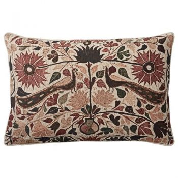 Lene Bjerre Ethel Rectangular Cushion a00004854. This unique cushion by Lene Bjerre features a beautiful floral print in the colours sand and dark purple. This will add gorgeous expression to your living room or bedroom.