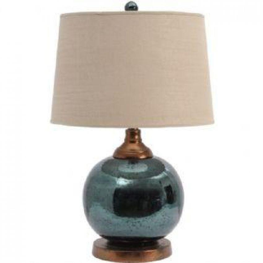 Teal Mercury Sphere Lamp Base with Bleach Linen Shade