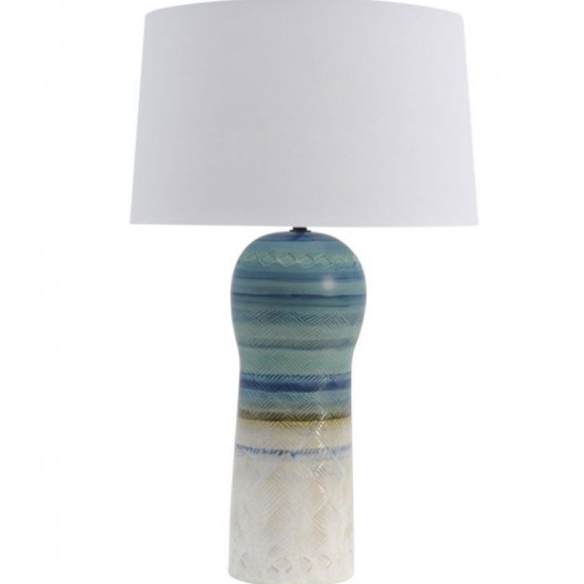 Seminyak Blue Ceramic Table Lamp With Off White Cotton Shade