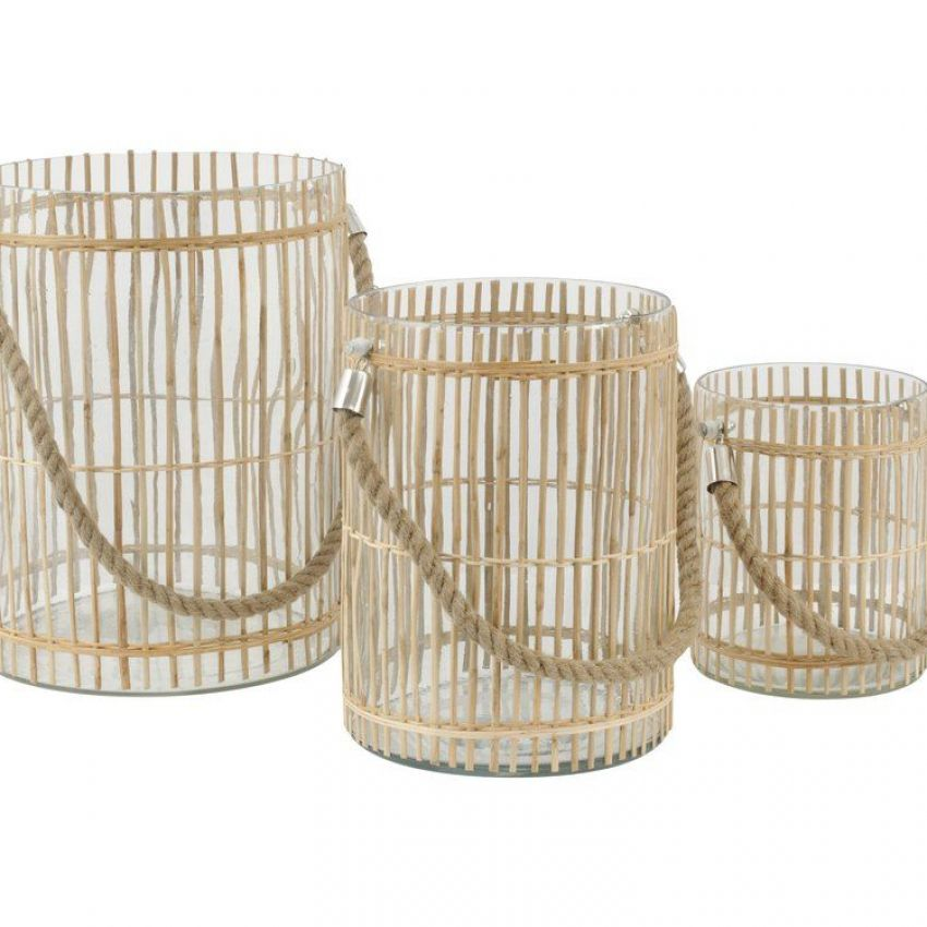 Set of Three Glass Drum Hurricanes with Bamboo Detailing