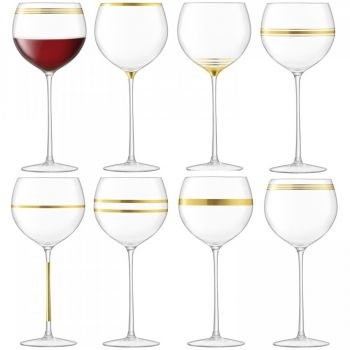 LSA International Deco Wine Goblet x8 G1338-19-216. This assortment of eight wine goblets is embellished with bands of gold for a modern twist on the glamorous metallic finishes of Art Deco. Suitable for special occasion dining and cocktail parties, the set makes an ideal gift for the host.