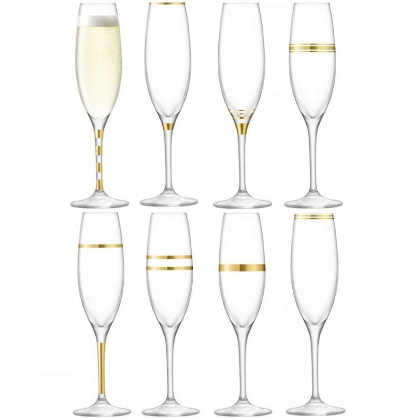 LSA International Deco Champagne Flute x8