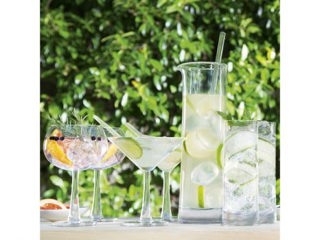 Lovely Gin glasses. Gin accessories. Gin gifts for friends and loved ones. Gin Cocktail Set Clear G1392-00-200 An assortment of gin cocktail glasses that are defined by their weighty bases and subtly flared stems. Each mouthblown glass is shaped by skilled artisans so that the delicate aroma of the spirit's botanicals is enhanced. A jug with stirrer for preparing and pouring cocktails completes the set. Looking for new dining accessories. New cocktail accessories. Cocktail inspiration. Need a new ice set justtrio just trio lsainternational lsa international
