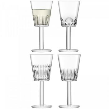 Justtrio barnstaple shop. Barnstaple furniture store. LSA International UK sale. UK LSA glasses sale. Cheap LSA UK glass. LSA International Tatra Wine Glass 300ml g1405-10-194 A set of four mouthblown wine glasses with assorted patterns hand-cut into the base of each angular bowl. Inspired by the folk traditions of wood carving, the graphic motifs add contemporary decoration to any occasion.