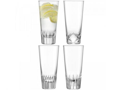 Justtrio barnstaple shop. Barnstaple furniture store. LSA International UK sale. UK LSA glasses sale. Cheap LSA UK glass. LSA International Tatra Mixer Glass 315ml x4 G311-11-194. A set of handmade mixer glasses with assorted patterns hand-cut into the base, inspired by the folk traditions of woodworking.