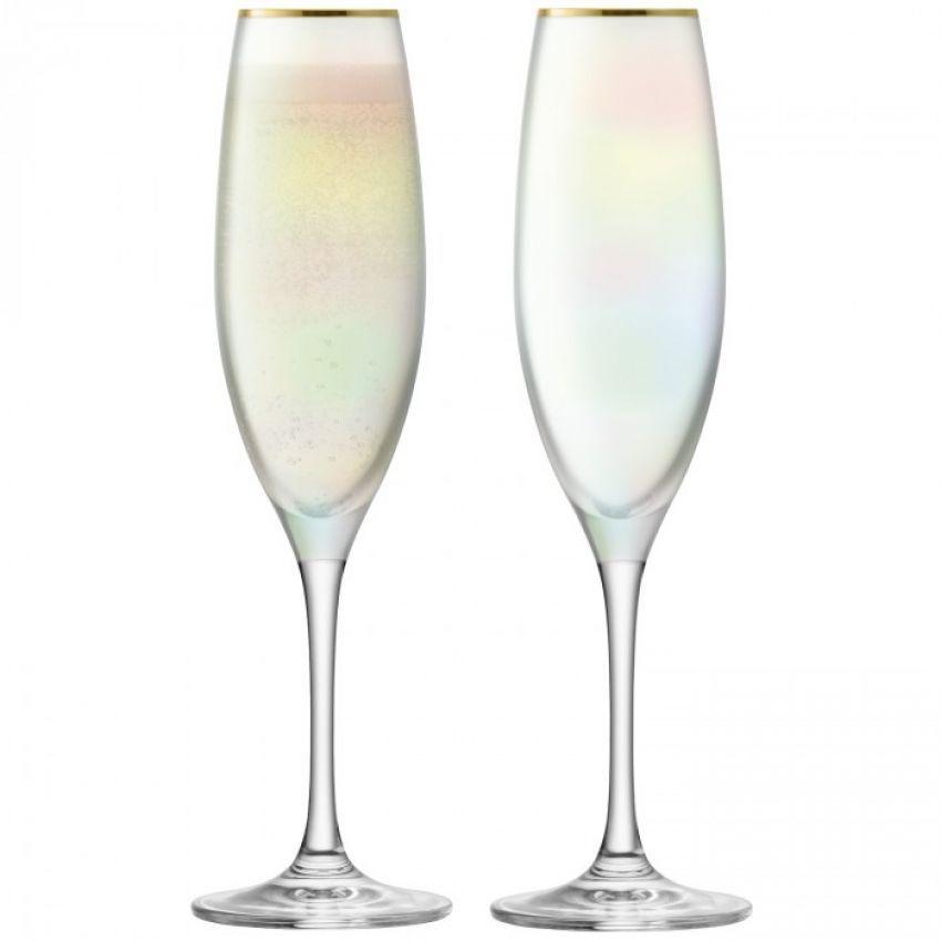 LSA International Sorbet Nougat Champagne Flute x2