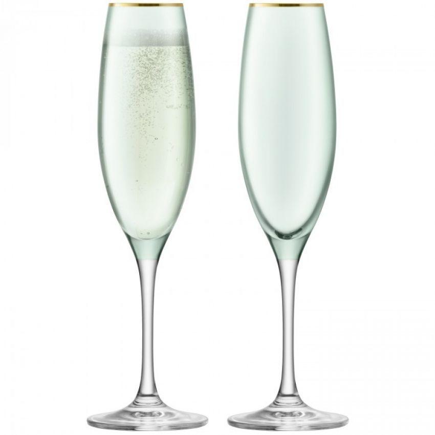 LSA International Sorbet Melon Champagne Flute x2