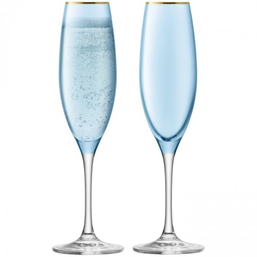 LSA International Sorbet Spearmint Champagne Flute x2