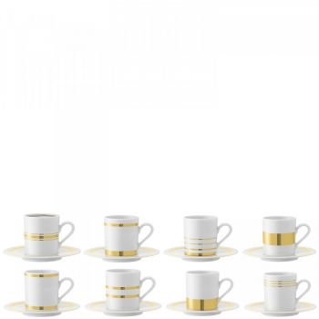 LSA International Deco Espresso Cup and Saucer x8 P034-11-479. This assorted set of eight espresso cups and saucers is inspired by the glamorous Art Deco movement of the early 20th century.