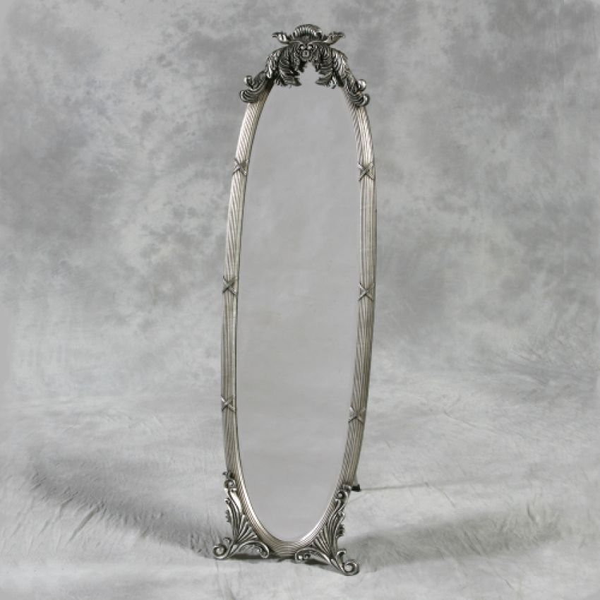 Antiqued Silver Dressing Mirror on Stand