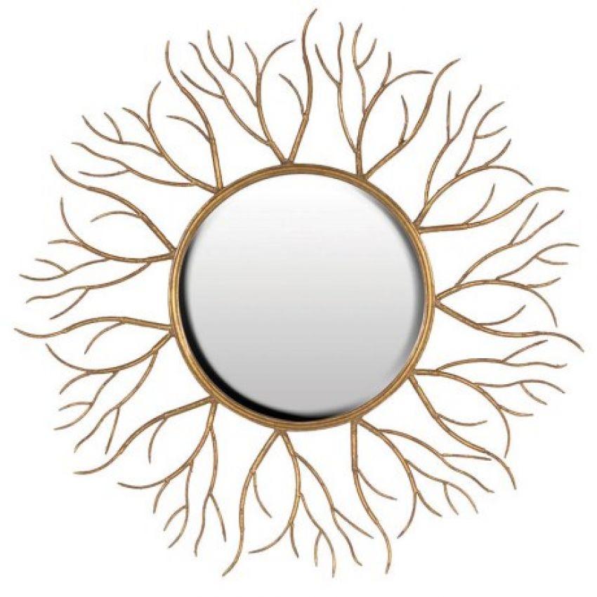 Gold Twigs Round Mirror