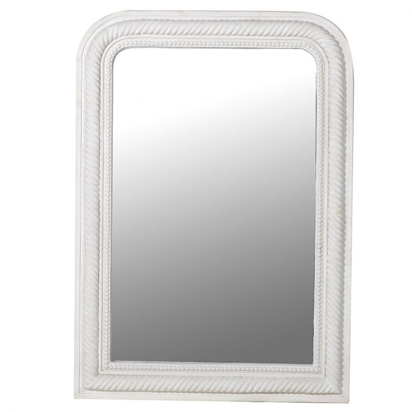 White Curved Corner Rope Edge Mirror