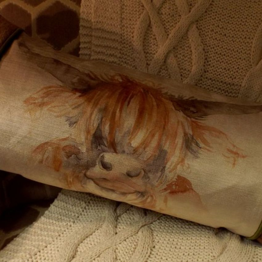 Highland Cow Patch Cushion