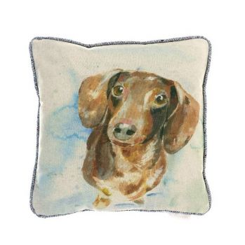 Voyage Daxy Cushion C160028. This delightfully cute cushion features the gorgeous face of a dachshund puppy staring at you with big, brown eyes.