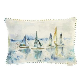 Justtrio barnstaple shop. Barnstaple furniture shop. New cushions. UK cushions. Cheap voyage cushions. Voyage Marine Sail Cushion c160174 Gorgeously made with intricate detail, this Voyage cushion is beautifully illustrated with a wonderful marine boat design. The artistic watercolour really brings out the nature of the ocean!