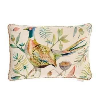 Voyage Maison Pheasant Autumn Cushion c170018. Our popular pheasant cushion by Voyage Maison is a treat for your favourite armchair. Ideal for any home filled with natural fabrics, traditional themes, and quality furniture. Add some character to your living room!