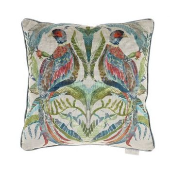 Voyage Northlew Pheasant Pomegranate C170126. Gorgeously made with intricate detail, this Voyage cushion is beautifully illustrated with a wonderful nature design  featuring two pheasants.