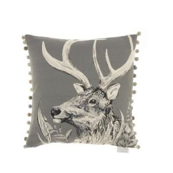 Justtrio barnstaple shop. Barnstaple furniture shop. New cushions. UK cushions. Cheap voyage cushions. Voyage Darby Charcoal Cushion C170132 Voyage print cushions. Cushion sale. Gorgeously made with intricate detail, this Voyage cushion creates wonderful, atmospheric scenes of the forest with excellent styling of the stag. The artwork is a perfect example of the beautiful work Voyage Maison produce.