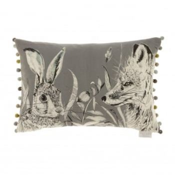 Justtrio barnstaple shop. Barnstaple furniture shop. New cushions. UK cushions. Cheap voyage cushions. Voyage Hunt Charcoal Cushion C170138 Voyage print cushions. Cushion sale. Gorgeously made with intricate detail, this Voyage cushion creates wonderful, atmospheric scenes of the forest hunting grounds with excellent styling of the fox and rabbit. The artwork is a perfect example of the beautiful work Voyage Maison produce.