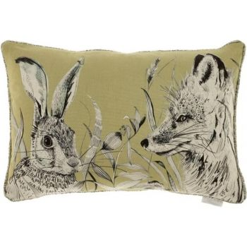 Justtrio barnstaple shop. Barnstaple furniture shop. New cushions. UK cushions. Cheap voyage cushions. Voyage Hunt Mustard Cushion C170139 Voyage print cushions. Cushion sale. Gorgeously made with intricate detail, this Voyage cushion creates wonderful, atmospheric scenes of the forest hunting grounds with excellent styling of the fox and rabbit. The artwork is a perfect example of the beautiful work Voyage Maison produce.