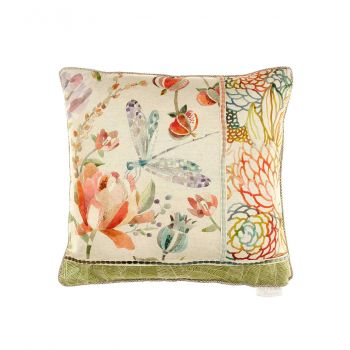Voyage Volatus Cinnamon Patchwork Cushion C180032. Gorgeously made with intricate detail, this Voyage cushion is beautifully illustrated with a wonderful patchwork nature design.