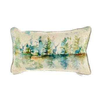 Voyage Wilderness Topaz Cushion c180050. Gorgeously made with intricate detail, this Voyage cushion is beautifully illustrated with a wonderful nature design with watercolour stags.