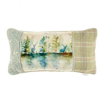 Voyage Wilderness Patchwork Cushion c180075. Gorgeously made with intricate detail, this Voyage cushion is beautifully illustrated with a wonderful patchwork nature design with watercolour stags.